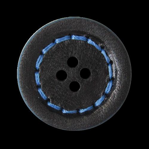 www.knopfparadies.de - 3126bl -  Ausgefallene Lederknöpfe mit vier Löchern und knallig blauem Rand