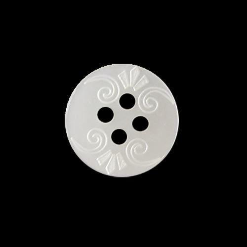 www.Knopfparadies.de - 5954nw - Elegante kleine Blusenknöpfe in weißer Perlmuttoptik mit Muster