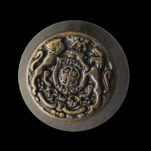 Altmessingfarbener Metall Ösen Knopf mit Wappen