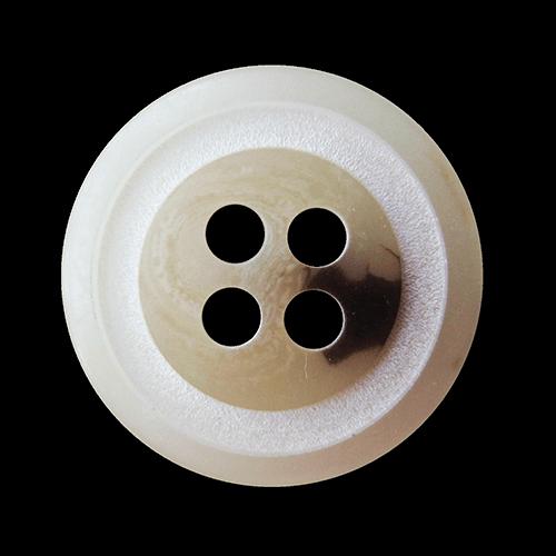 Beige melierter Vierloch Knopf in Büffelhorn Optik