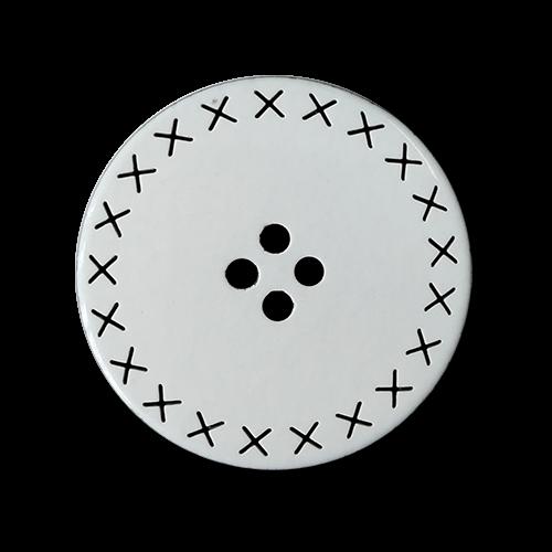 www.knopfparadies.de - 5369we - Weiß-schwarze Kunststoffknöpfe mit vier Löchern