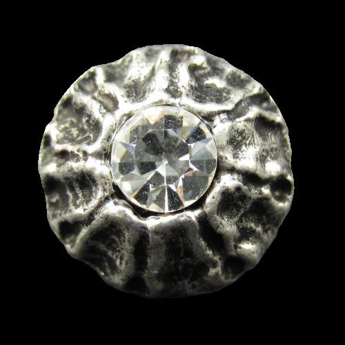 Edler altsilberfarbener Metallknopf mit Glitzerstein