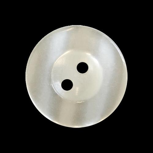 www.knopfparadies.de - 6030we - Naturweiß schimmernde Kunststoffknöpfe mit zwei Löchern und breitem Rand