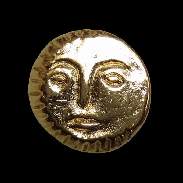 Glänzend goldfarbener Metallknopf mit Gesicht