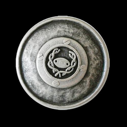 Schöner, altsilberfarbener Metallknopf