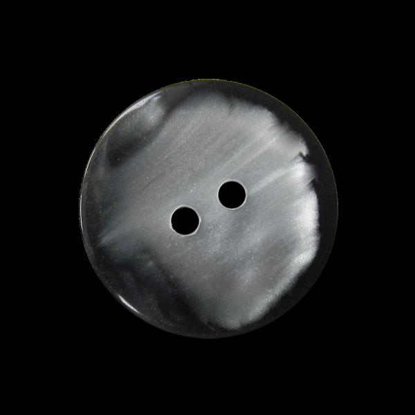 Edler schwarz silbrig perlmuttweißer Kunststoff Knopf