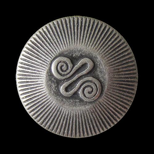 www.Knopfparadies.de - 0425as - Alt wirkende Metallknöpfe mit Spiral Symbol in Silber