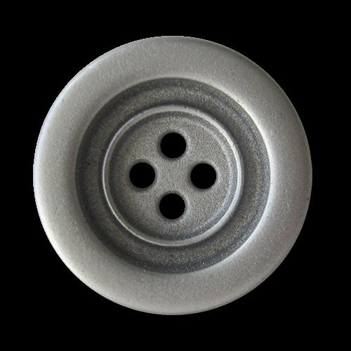 www.Knopfparadies.de - 1544zn - Zinnfarbene Vierlochknöpfe aus Metall