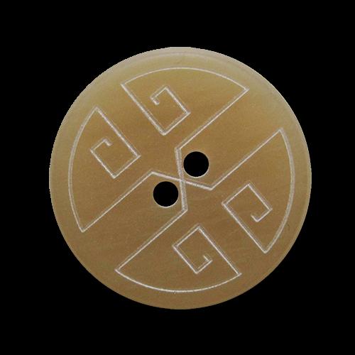 Beiger Kunststoffknopf mit weißem Linien Muster