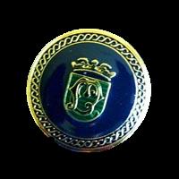 Blau-grün-goldfarbener Metallknopf