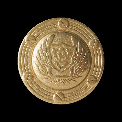 Imposante goldfarbene Metall Ösen Knöpfe mit Wappen, Flügeln & Schrauben