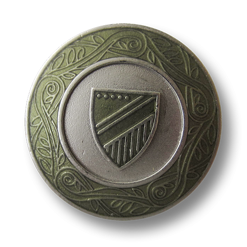www.Knopfparadies.de - 5549gr - Edle grün silberne Wappenknöpfe aus Metall mit Zierband