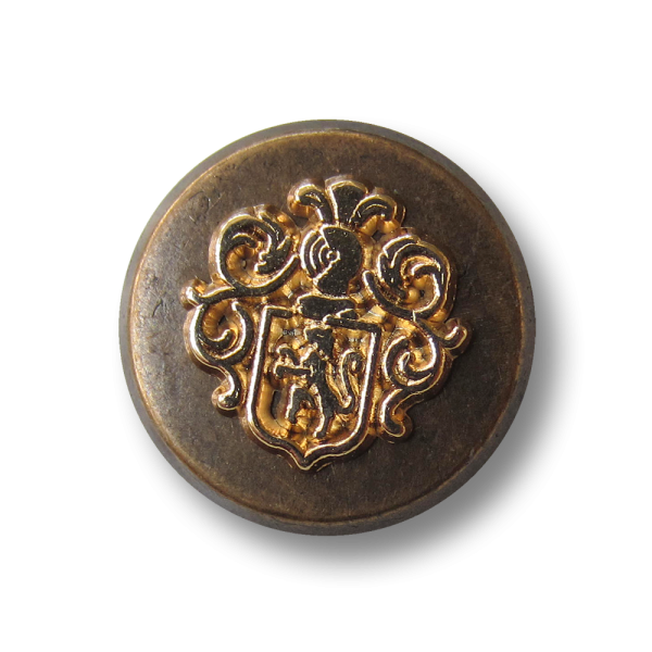 Zweifarbiger Wappen Metall Ösen Knopf in Vintage Optik