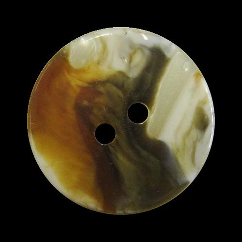www.Knopfparadies.de - 1565br - Kreative braun weiß melierte Kunststoffknöpfe in Perlmutt Optik