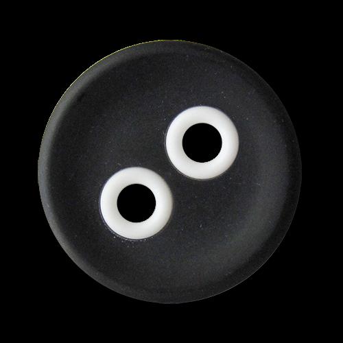 www.knopfparadies.de - 3441sw - Schwarze Kunststoffknöpfe mit weißen Knopflöchern