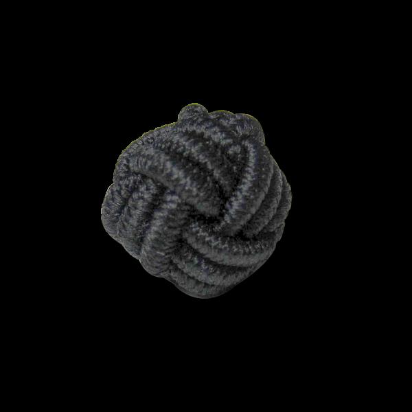 Kleiner Posamenten Kugel Knopf in Schwarz wie ein geflochtener Knoten