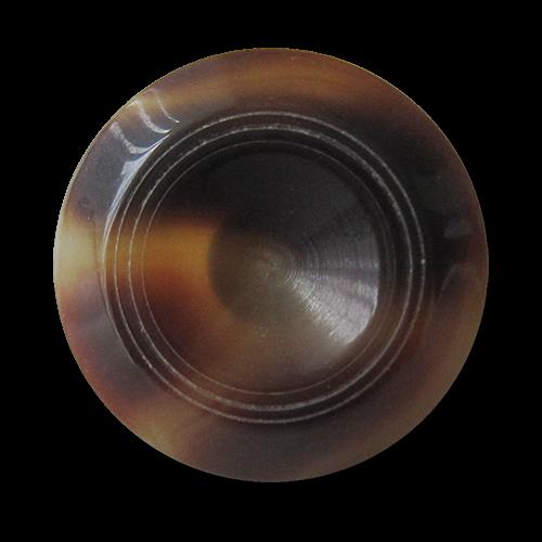 www.Knopfparadies.de - 3010br - Elegante braun melierte Kunststoffknöpfe in Büffelhorn Optik