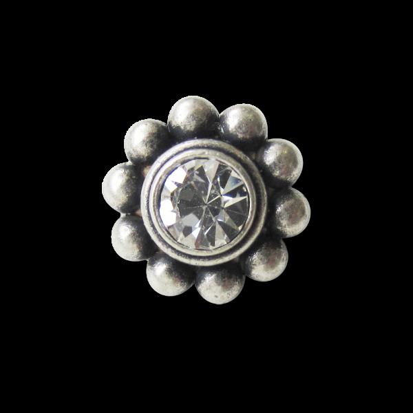 Kleiner altsilberfb. Metall Knopf mit Glitzer Stein