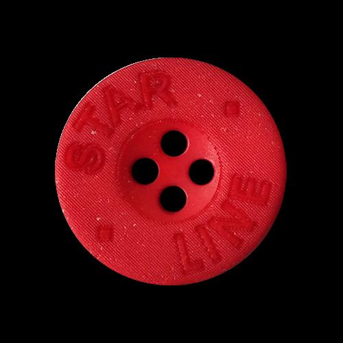 www.knopfparadies.de - 2565ro - Rote Vierlochknöpfe aus Kunststoff mit Glitzer