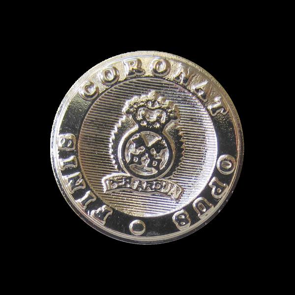 Eleganter glänzend silberfarbener Wappen Metall Knopf