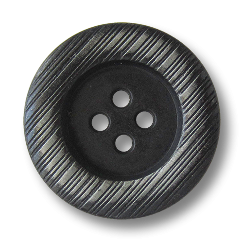 www.Knopfparadies.de  - 1596ei - Eisenfarbene Vierloch Metallknöpfe mit silberner Schraffierung auf dem Rand