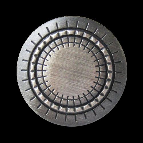 www.Knopfparadies.de - 2696se - Graphisch gemusterte Metallknöpfe in Eisen