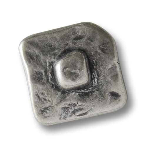 www.Knopfparadies.de - 5731as - Alt wirkende quadratische Metallknöpfe in Altsilber