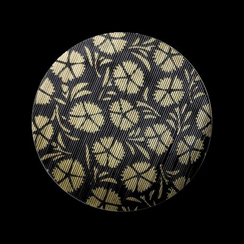 www.knopfparadies.de - 2814sg - Schwarz-goldfarbene Kunststoffknöpfe mit hübschem Blütenmuster