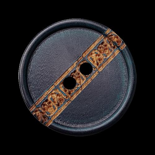 Blauer Holz Knopf mit Zier Bordüre und zwei Knopflöchern