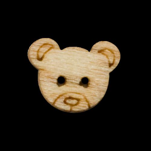 Puppenknöpfe aus Holz mit Bärenmotiv