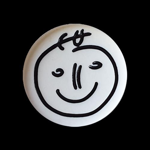 Hübsche schwarzweiße Kinderknöpfe mit grinsendem Gesicht