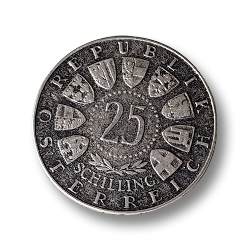"""www.knopfparadies.de - 1346sc - Authentische Münzknöpfe """"25 Schillling"""""""