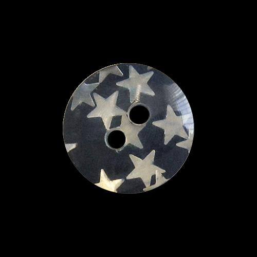 www.knopfparadies.de - 2025db - Süße dunkelblaue Kunststoffknöpfe mit silbernen Sternen