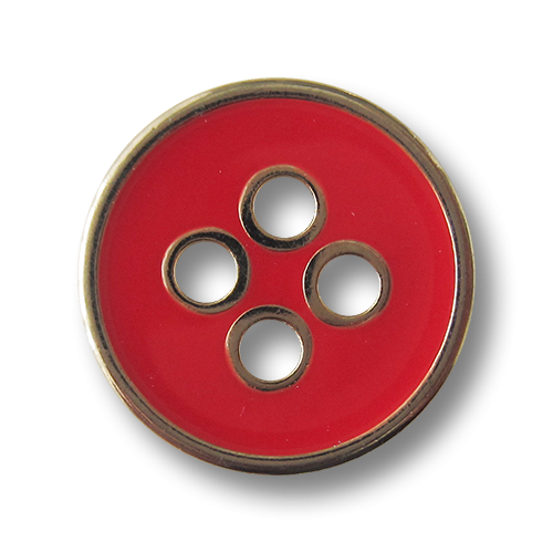 Moderner rot goldfarbener Vierloch Metallknopf