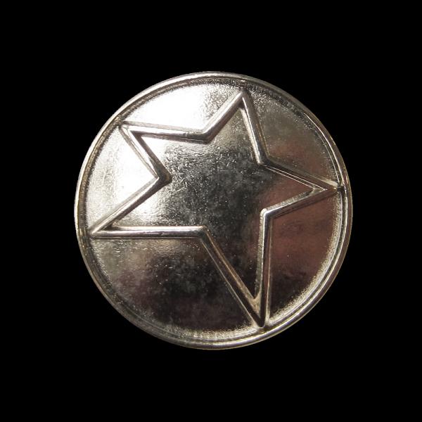 Moderner silberfarbener Ösen Metall Knopf mit Stern