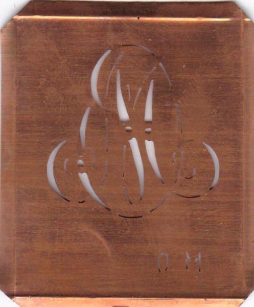 Alte Wäscheschablone, Stickschablone mit Initialen OM