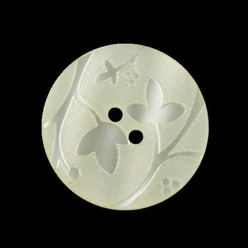 6er Set gelblich-weiße Knöpfe mit Blattmotiv