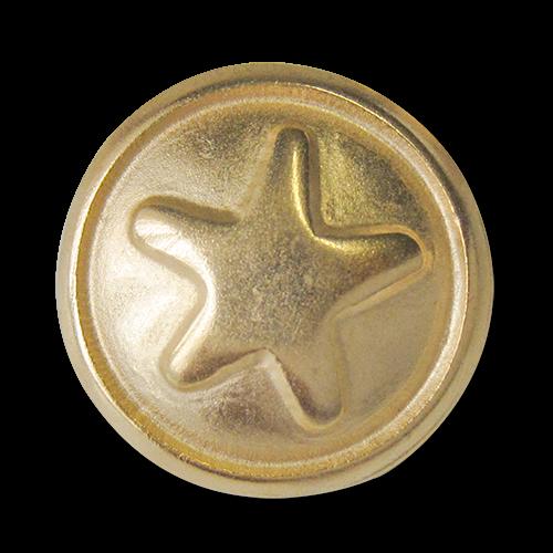 www.Knopfparadies.de - 3849go - Süße Motivknöpfe mit Stern aus Metall