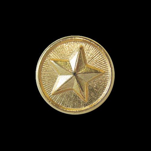 www.knopfparadies.de - 2533g - Goldfarbene Metallknöpfe mit Motiv: Stern