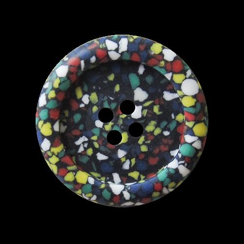 Bunt gesprenkelter Vierloch Knopf aus Kunststoff wie Konfetti