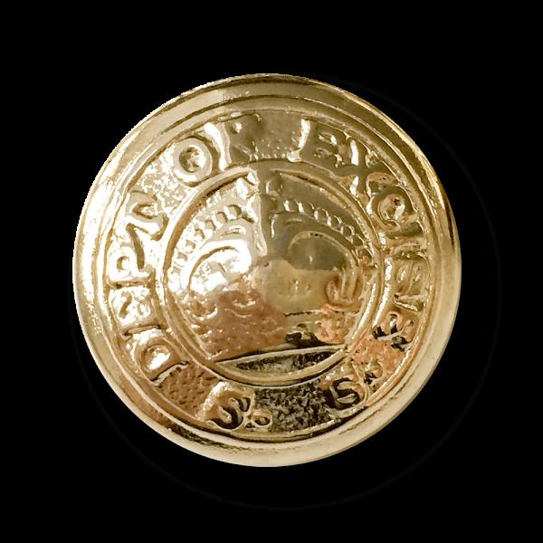 Eleganter goldfb. Metall Knopf mit Krone & Inschrift