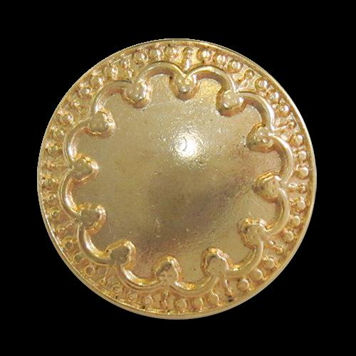 www.knopfparadies.de - 3818go - Goldfarbene Metallknöpfe mit verschnörkeltem Rand
