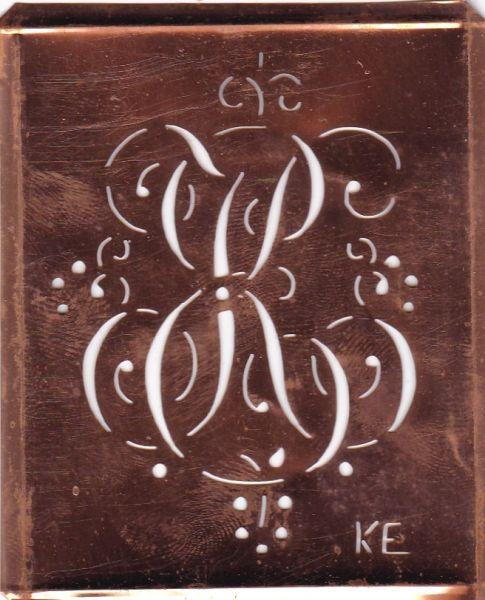 www.knopfparadies.de - KE-sch-240 - Künstlerschablone mit Schnörkeln, Aussteuer-Schablone zum Sticken KE