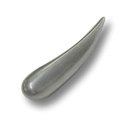 www.Knopfparadies.de - 0888st - Große nierenförmige Metallknöpfe in Altsilber als Knebelknöpfe