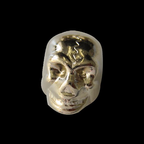 Goldfarb. Kordelstopper aus Metall in Totenkopf Form