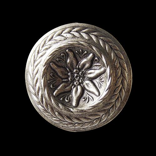 Großer altsilberfb. Edelweiß Metall Knopf mit Zierrand