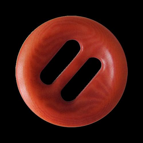 Rot gemaserter echter Steinnuss Knopf mit Schlitzen