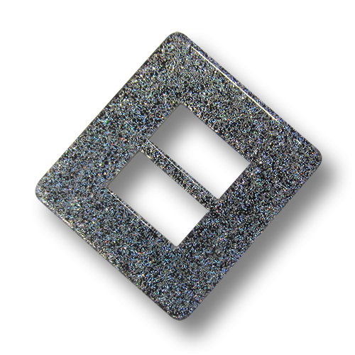 www.Knopfparadies.de - 3417dg - Funkelnde graue Kunststoffschnalle mit Glitzerpartikeln für Gürtel