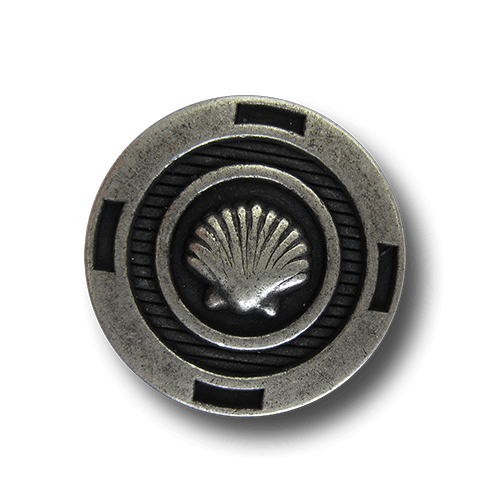 Altsilberfarbener maritimer Metall Knopf mit Muschel