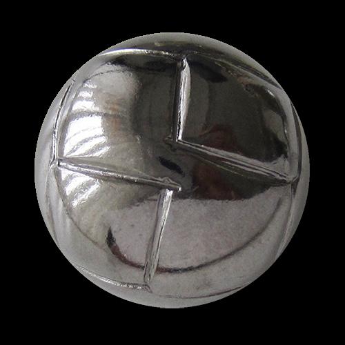 www.Knopfparadies.de - 2738ch - Glänzend chromfarbene Metallknöpfe in Halbkugelform mit Rauten Muster